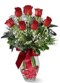 Kahramanmaraş güvenli kaliteli hızlı çiçek  7 adet kirmizi gül cam vazo yada mika vazoda