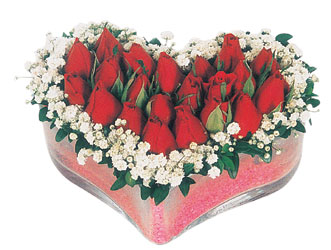 Kahramanmaraş cicekciler , cicek siparisi  mika kalpte kirmizi güller 9