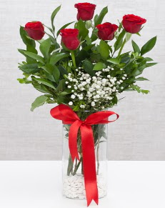 cam vazo içerisinde 5 adet kırmızı gül  Kahramanmaraş İnternetten çiçek siparişi