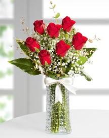 Cam vazoda 7 adet kırmızı gül  Kahramanmaraş 14 şubat sevgililer günü çiçek