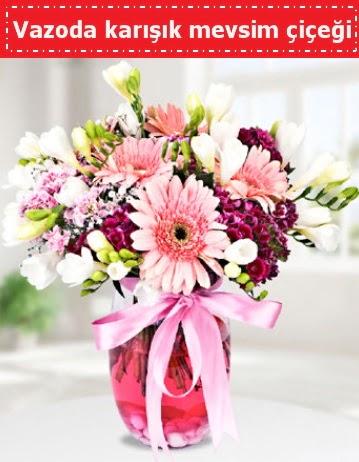 Vazoda karışık mevsim çiçeği  Kahramanmaraş 14 şubat sevgililer günü çiçek