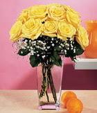 Kahramanmaraş çiçek mağazası , çiçekçi adresleri  9 adet sari güllerden cam yada mika vazo