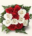 Kahramanmaraş 14 şubat sevgililer günü çiçek  10 adet kirmizi beyaz güller - anneler günü için ideal seçimdir -
