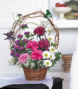 Kahramanmaraş İnternetten çiçek siparişi  sepet içerisinde karanfil gerbera ve kir çiçekleri