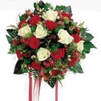 Kahramanmaraş anneler günü çiçek yolla  6 adet kirmizi 6 adet beyaz ve kir çiçekleri buket