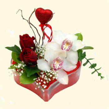 Kahramanmaraş çiçekçi telefonları  1 kandil orkide 5 adet kirmizi gül mika kalp
