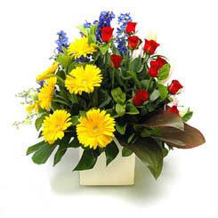 Kahramanmaraş online çiçekçi , çiçek siparişi  9 adet gül ve kir çiçekleri cam yada mika vazoda