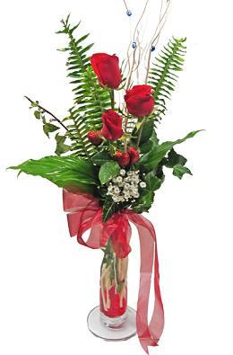 Çiçek gönderin cam vazoda 3 gül çiçekleri  Kahramanmaraş çiçek servisi , çiçekçi adresleri