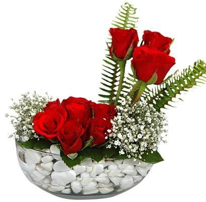 cam içerisinde 9 adet kirmizi gül  Kahramanmaraş yurtiçi ve yurtdışı çiçek siparişi