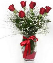 7 adet gülden cam içerisinde güller  Kahramanmaraş çiçek yolla