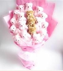 17 adet pelus ayicik buketi  Kahramanmaraş internetten çiçek siparişi