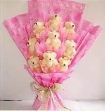 9 adet pelus ayicik buketi  Kahramanmaraş çiçek gönderme
