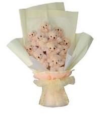 11 adet pelus ayicik buketi  Kahramanmaraş anneler günü çiçek yolla