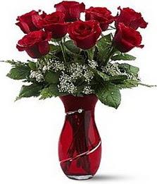 Vazo içinde 8 adet kirmizilar içinde güller  Kahramanmaraş güvenli kaliteli hızlı çiçek