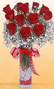 10 adet kirmizi gülden vazo tanzimi  Kahramanmaraş çiçek servisi , çiçekçi adresleri