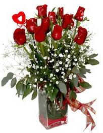 Kahramanmaraş yurtiçi ve yurtdışı çiçek siparişi  9 adet mika yada cam vazoda gül tanzimi kalp çubuk