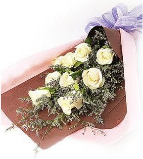 Kahramanmaraş çiçek yolla , çiçek gönder , çiçekçi   9 adet beyaz gülden görsel buket çiçeği