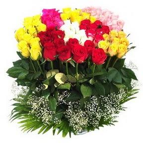 Kahramanmaraş ucuz çiçek gönder  51 adet renkli güllerden aranjman tanzimi