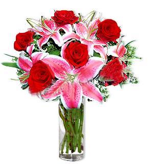 Kahramanmaraş online çiçek gönderme sipariş  1 dal cazablanca ve 6 kırmızı gül çiçeği