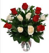 Vazo içerisinde 6 kırmızı 6 beyaz gül  Kahramanmaraş hediye sevgilime hediye çiçek