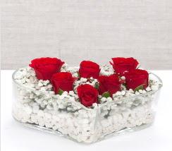 kalp içerisinde 7 adet kırmızı gül  Kahramanmaraş yurtiçi ve yurtdışı çiçek siparişi