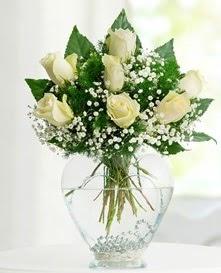 Cam içerisinde 7 adet beyaz gül  Kahramanmaraş İnternetten çiçek siparişi