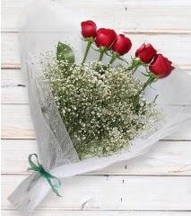 5 kırmızı gülden sade buket  Kahramanmaraş online çiçek gönderme sipariş