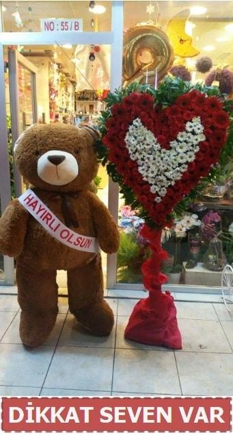 1.5 Metre peluş ayı ve Kalp  Kahramanmaraş çiçek siparişi vermek