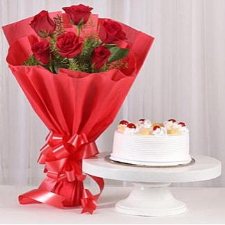 6 Kırmızı gül ve 4 kişilik yaş pasta  Kahramanmaraş 14 şubat sevgililer günü çiçek