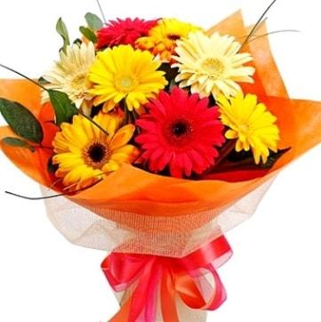 9 adet karışık gerbera buketi  Kahramanmaraş 14 şubat sevgililer günü çiçek