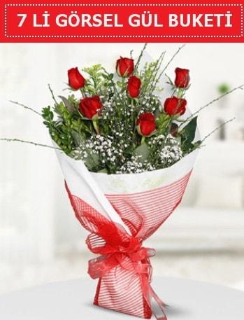 7 adet kırmızı gül buketi Aşk budur  Kahramanmaraş uluslararası çiçek gönderme