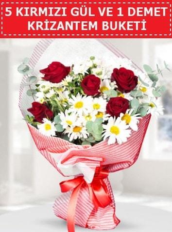 5 adet kırmızı gül ve krizantem buketi  Kahramanmaraş uluslararası çiçek gönderme