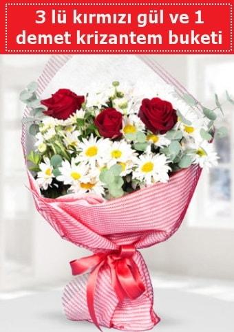 3 adet kırmızı gül ve krizantem buketi  Kahramanmaraş çiçek siparişi vermek