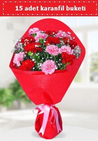 15 adet karanfilden hazırlanmış buket  Kahramanmaraş İnternetten çiçek siparişi