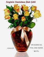 Kahramanmaraş çiçek mağazası , çiçekçi adresleri  mika yada Cam vazoda 12 adet sari gül
